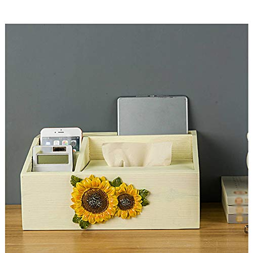 Drhnjl Wooden Desktop Multi-Function Tissue Box Ornament Home Dining Room Applique Tissue Box Storage Box