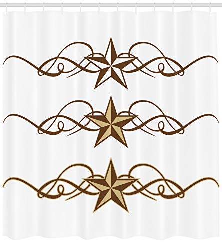 Ambesonne Primitive Country Decor Shower Curtain, Western Stars Scroll Design Ornate Swirls Antique Artistic, Fabric Bathroom Decor Set with Hooks, 70 inches, Brown Light Coffee ()