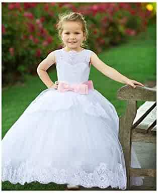 76db0758bb Big Girls White Pink Illusion Lace Trim Marilyn Junior Bridesmaid Dress 8-10