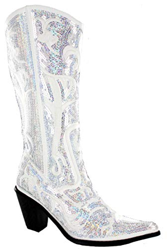 Helens Heart Bling Boots LB-0290-12 (8, White)
