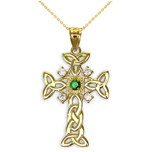 14k Yellow Gold Trinity Knot Diamond Celtic Cross Pendant Necklace with Genuine Emerald, 20