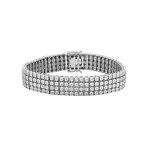 OMEGA JEWELLERY Men's Sterling Silver Natural Diamonds 4 Row Tennis Bracelet (1.50 Ct) - 7.5 Inches.