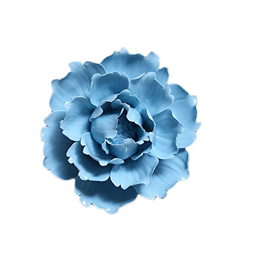 ALYCASO Ceramic Flower Pediments Sculpture Wall Decoration for Living Room Bedroom Hanging 3D Wall Art, B - Blue, 3.54 inch