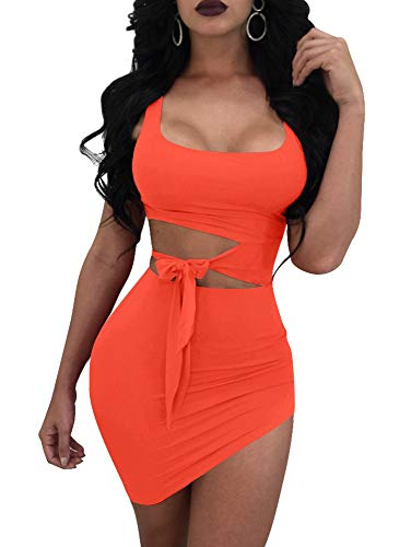 GOBLES Womens Sexy Bodycon Cut Out Sleeveless Outfit Mini Club Tank Dress Orange