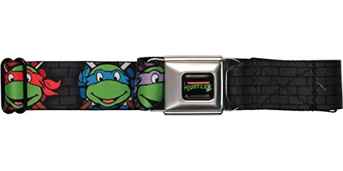 Buckle-Down Seatbelt Belt - Classic TMNT Expessions/Battle Gear Gray/Multi Color - 1.5