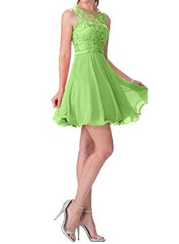 Cocktailkleider Ballkleider Grün Abendkleider Spitze La Mini mia Kleider Summer Braut Promkleider Hundkragen Kurzes Chiffon wwX0OI