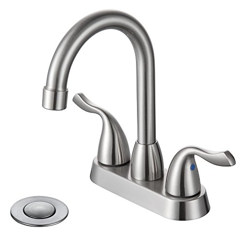 Modern 3 Hole 4 Inch Centerset Two Handle Bathroom Faucet with Drain Assembly and Lift Rod and Valve High-arc spout 2 Handle Bar Basin Tap Bathroom Sink Faucet Metal in Brushed Nickel (Assembly Widespread Spout)