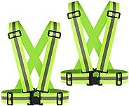 2Pack Reflective Vest, High Visibility Vest Straps Lightweight Reflector Safety Straps Adjustable Reflective G