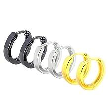 BALA Silver Black Huggies Earrings Hoops Women Men Ear Piercings 3 Pairs Unisex Gold 12/15mm