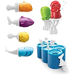 Silicone Fish Popsicle Molds in One Tray - 6 Different Easy-release Ice Cream Tray Holder for Kids