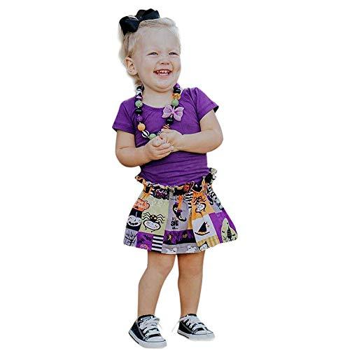 Toddler Halloween Costumes Etsy (iLOOSKR Toddler Infant Baby Girls Tops Cartoon Print Mini Skirt Halloween Costume Outfits Set)