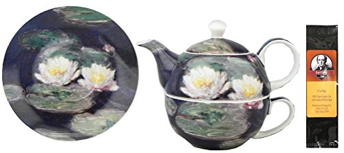 Monet Water Lilies Tea One for in Matching Gift Box and One Package of Tea Bags, Bundle 2 Items (Monet Tea Set)