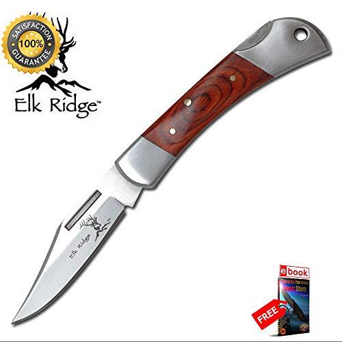 Elk Ridge Wood Handle Basic Lockback Folding Sharp KNIFE Combat Tactical Knife + eBOOK by Moon Knives