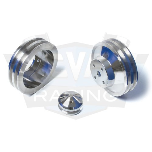 - Billet Aluminum Pontiac Underdrive Pulley Kit, 350-400, 428, 455, V-Belt, Power Steering