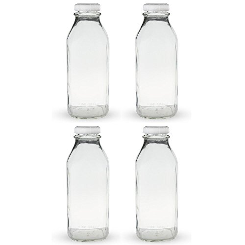 The Dairy Shoppe 1 Qt Glass Milk Bottle with Cap 4 Pack Square Style 32 (4 Pack Milk)