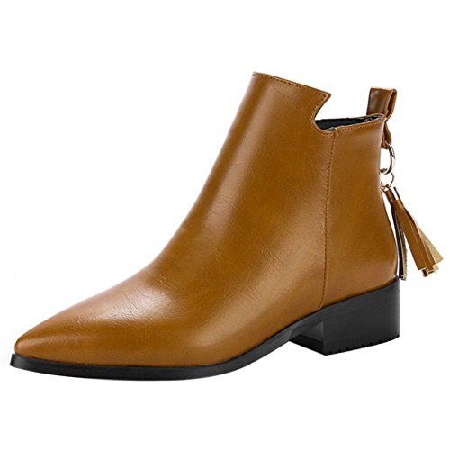 Booties Brown Women Ankle RAZAMAZA Tassels Casual Back wXxYqAv