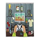 Gamer Shower Curtain,Gaming Guy in His Flat with Diplomas Loud Speakers Boxing Gloves Jump Rope and Trophy,Fabric Bathroom Decor Set with Hooks,60 by 72 inches,Multicolor
