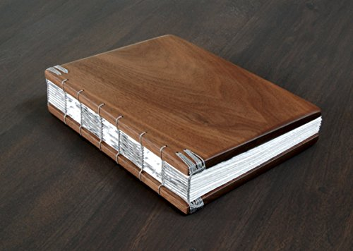 Handmade Wedding Guest Book or Journal - Black Walnut Wood by Three Trees Bindery