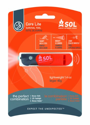 SOL Core Lite Survival Tool with Knife, Light, and Whistle, by Adventure Medical Kits, Outdoor Stuffs