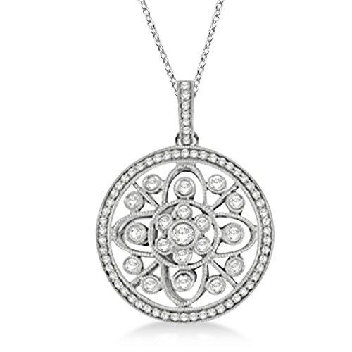 - Antique Circle Disk Diamond Pendant Necklace 14k White Gold (0.60ct)
