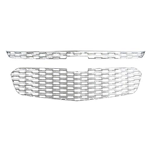 Front Grille Inserts Overlay Trim for 2014-2015 Chevrolet Malibu -Chrome Snap On Mesh Screen - Car, Truck, Van & Jeep Accessories