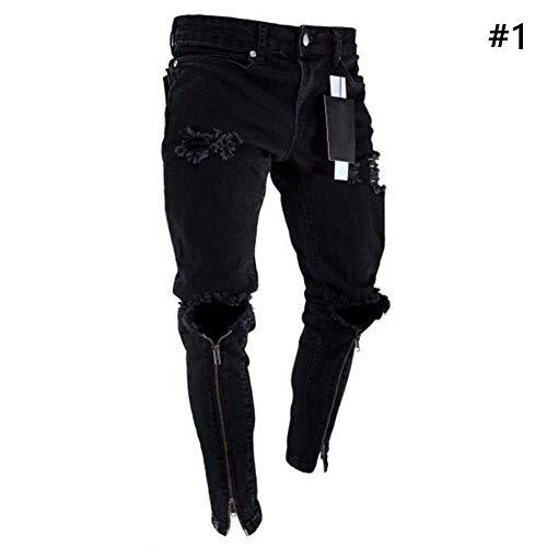HX fashion Pantalones De Mezclilla para Hombre Pantalones Vaqueros Rasgados Tamaños Cómodos Jeans Pantalones De Mezclilla Pitillo para Hombre Pantalones De Mezclilla Pitillo Ropa Negro
