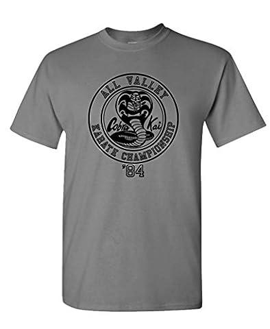 COBRA KAI KARATE CHAMPIONSHIP - 80's movie - Mens Cotton Tee, 2XL, Charcoal - 80's Movie T-shirt