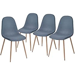 GreenForest Dining Side Chairs Strong Metal Legs Fabric Cushion Seat and Back for Dining Room Chairs Set of 4,Blue