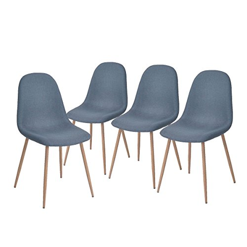 Leg Dining Set Room (GreenForest Dining Side Chairs Strong Metal Legs Fabric Cushion Seat and Back for Dining Room Chairs Set of 4,Blue)