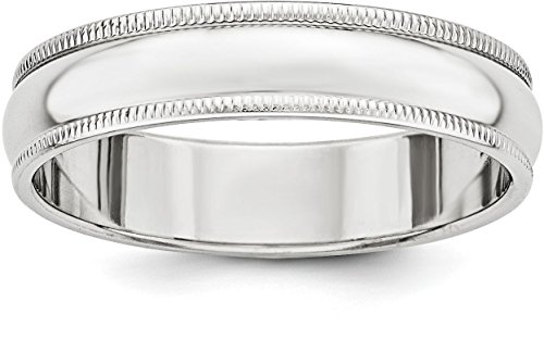 Sterling Silver 5mm Plain Half Round Classic Wedding Band with Double Milgrain Edge - Size 8.5