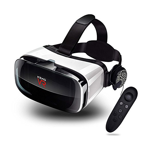 MEMO Virtual Reality Headset – With Remote Controller Immersive 3D VR Glasses Virtual Reality Headset with Stereo Headphone and Adjustable Headstrap for 3D Movies & VR Games 105° FOV 4.5-6.0in Screen For Sale