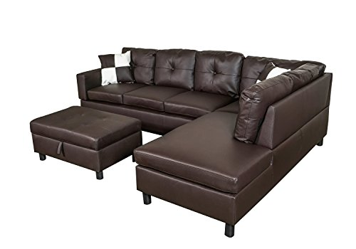 Legend 3 Piece Faux Leather Left-Facing Sectional Sofa Set with Free Storage Ottoman, Brown