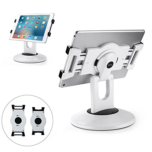 AboveTEK Retail Kiosk iPad Stand, 360° Rotating Commercial Tablet Stand, 6-13.5'' iPad Mini Pro Business Tablet Holder, Swivel Design for Store POS Office Showcase Reception Kitchen Desktop (White) by AboveTEK