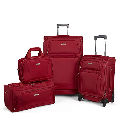 American Tourister Premium 4 Piece Lightweight 1680D Set (20 & 28 Spinner + Boarding & Duffel) Red American Tourister Lightweight Garment Bag