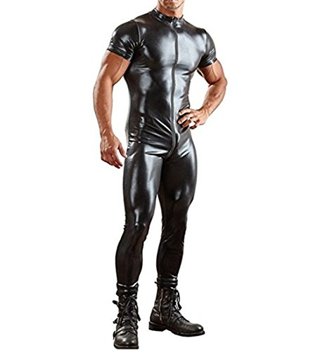 Agoky Men's Wet Look Faux Leather Short Sleeve Zipper Front Full Body Bodysuit Leotard Zentai Costume Black Large