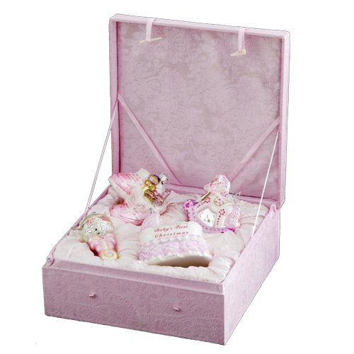 Kurt Adler NB0017G Noble Gems Glass Baby Girl Ornament, 4 Piece Set