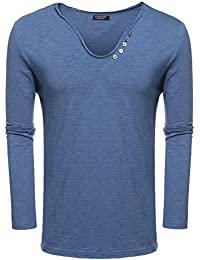 Men's V-Neck Henley Shirt Casual Short Sleeve T-Shirts Tee with Button