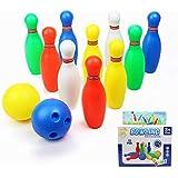 Yoptote Mini Bowling Set Game Indoor Plastic Pins Party Favors Kit Toddler  Developmental Toys 12 Pcs