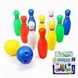 yoptote Small Bowling Toy Set Game Colorful Plastic Bowling Ball Pins Party Favors Kit Sport Toddler Educational Toys 12 Pcs Gift for Kids Baby Boys Girls Age 2+