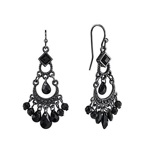 1928 Jewelry Black Crescent Chandelier Earrings