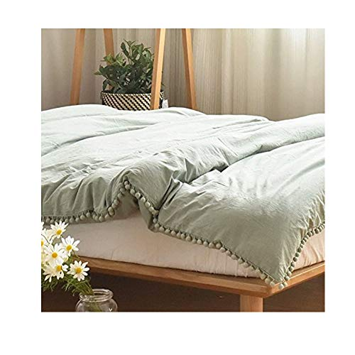 (Meaning4 Pom poms Fringe Cotton Duvet Cover Green Full or Queen Size 90 x 90)