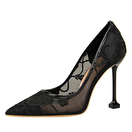 ALUK- Damenschuhe - Europa und die Vereinigten Staaten hochhackigen Spitze Mesh hohlen sexy Damen-Einzel Schuhe ( Farbe : Rot , größe : 36-Shoes long230mm ) Schwarz