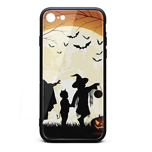Phone Case for 7/iPhone 8 Happy Halloween Pumpkin Bat Moon Sketch TPU Gel Protective Cheap Anti-Scratch Fashionable Glossy Anti Slip Thin Shockproof Soft ()
