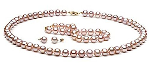 14kt-Gold-Lavender-Cultured-Freshwater-Pearl-Jewelry-Set-6-7mm-Pearls-AAA-Grade