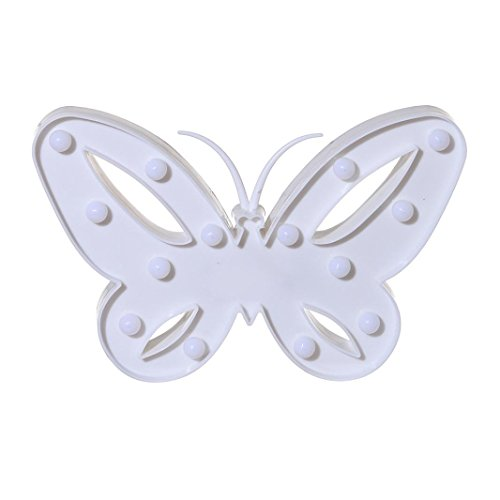 Kanzd Butterfly Alphabet Lights LED Light Up White Plastic Letters Standing Hanging (White)]()