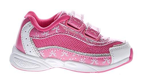 Kinder Sneaker Aufdruck Klettverschluss Mädchen Halb Schuhe Sportschuhe Gr. 22-27 Weiß-Fuchsia