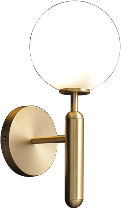 Modo Lighting Modern Wall Sconce Golden Mid Century Industrial Matte Globe Glass Wall Light for Bedroom Vanity Light (Hardwire)