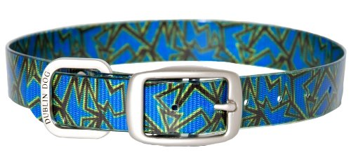 Dublin Dog Koa Collection Shattered 17 by 21.5-Inch Dog Collar, Large, Triton Blue