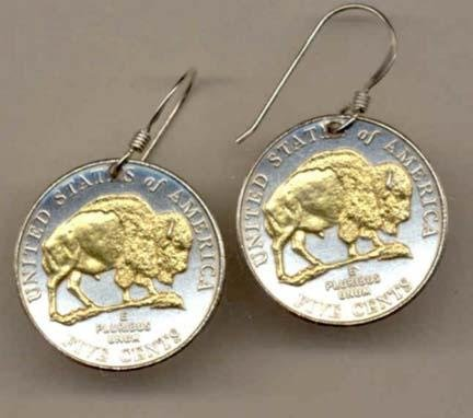 "New Jefferson Nickel""Bison"" Two Tone Coin Earrings"