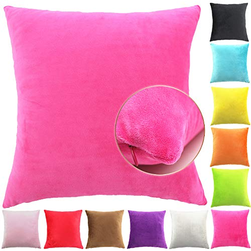 Easondea Cushion Covers Soft Plush Soild Decorative Winter Luxurious Square Pillow Case for Sofa Bedroom Home Car Hot Pink 16